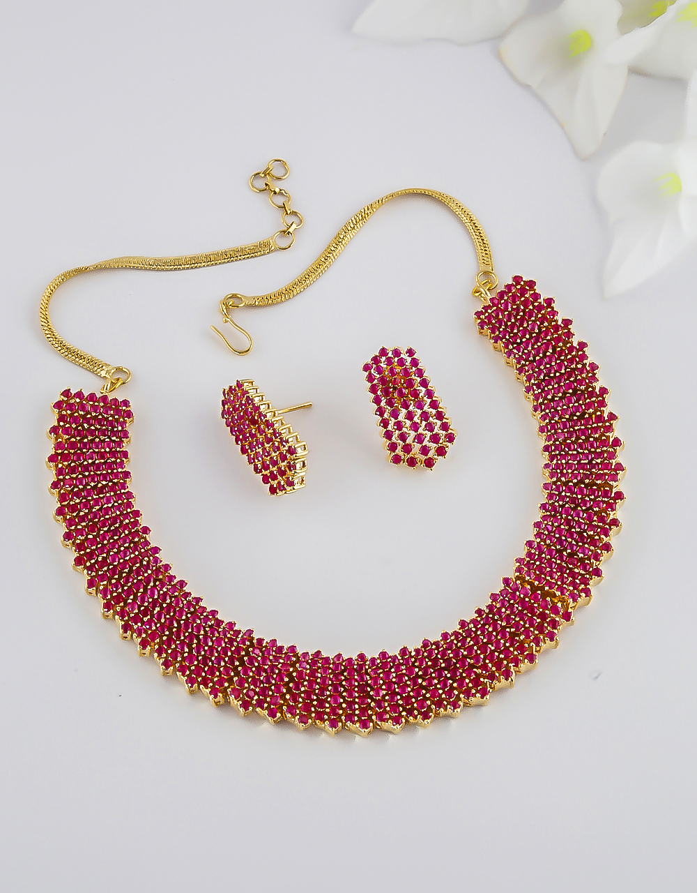 Very Classy Red Colour Gold Finish Fancy Stunning Necklace