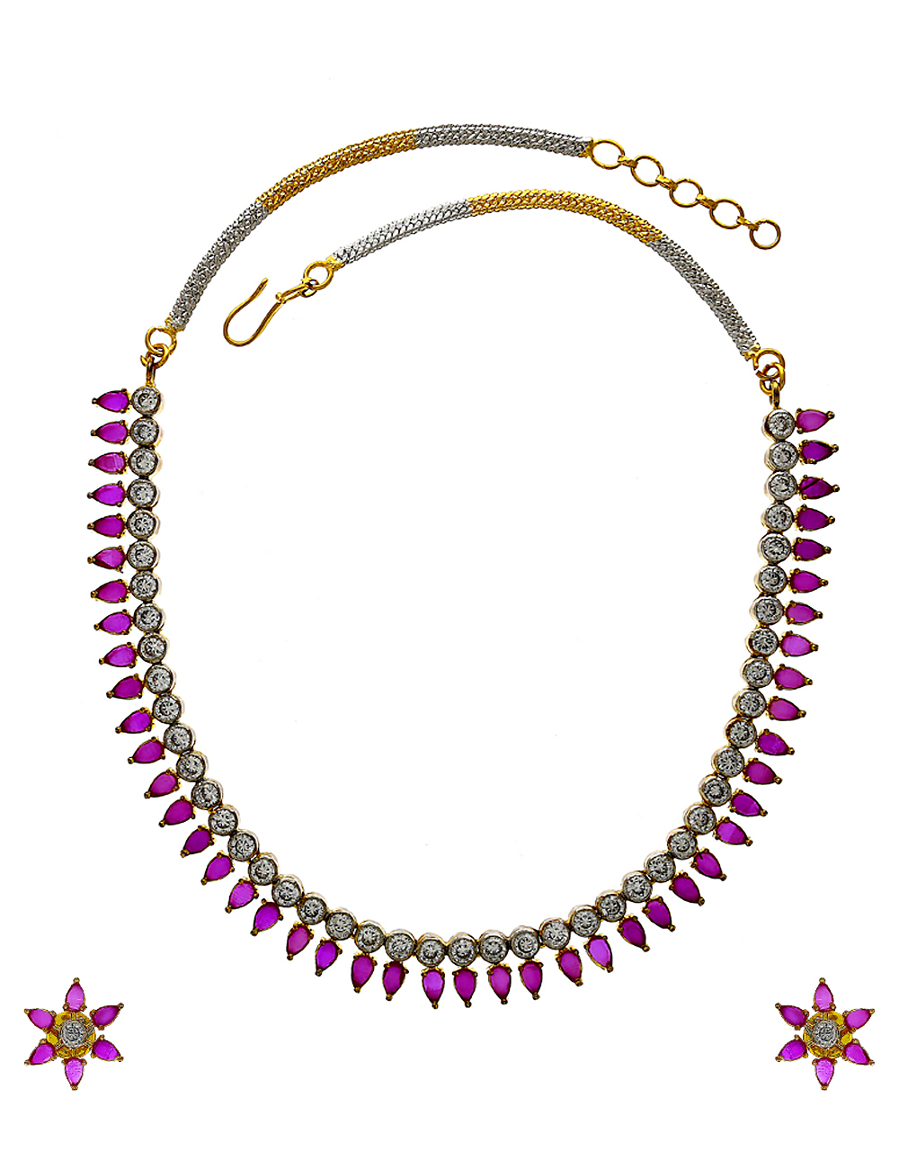 Red Colour Gold Finish Fashionable Diamond Necklace