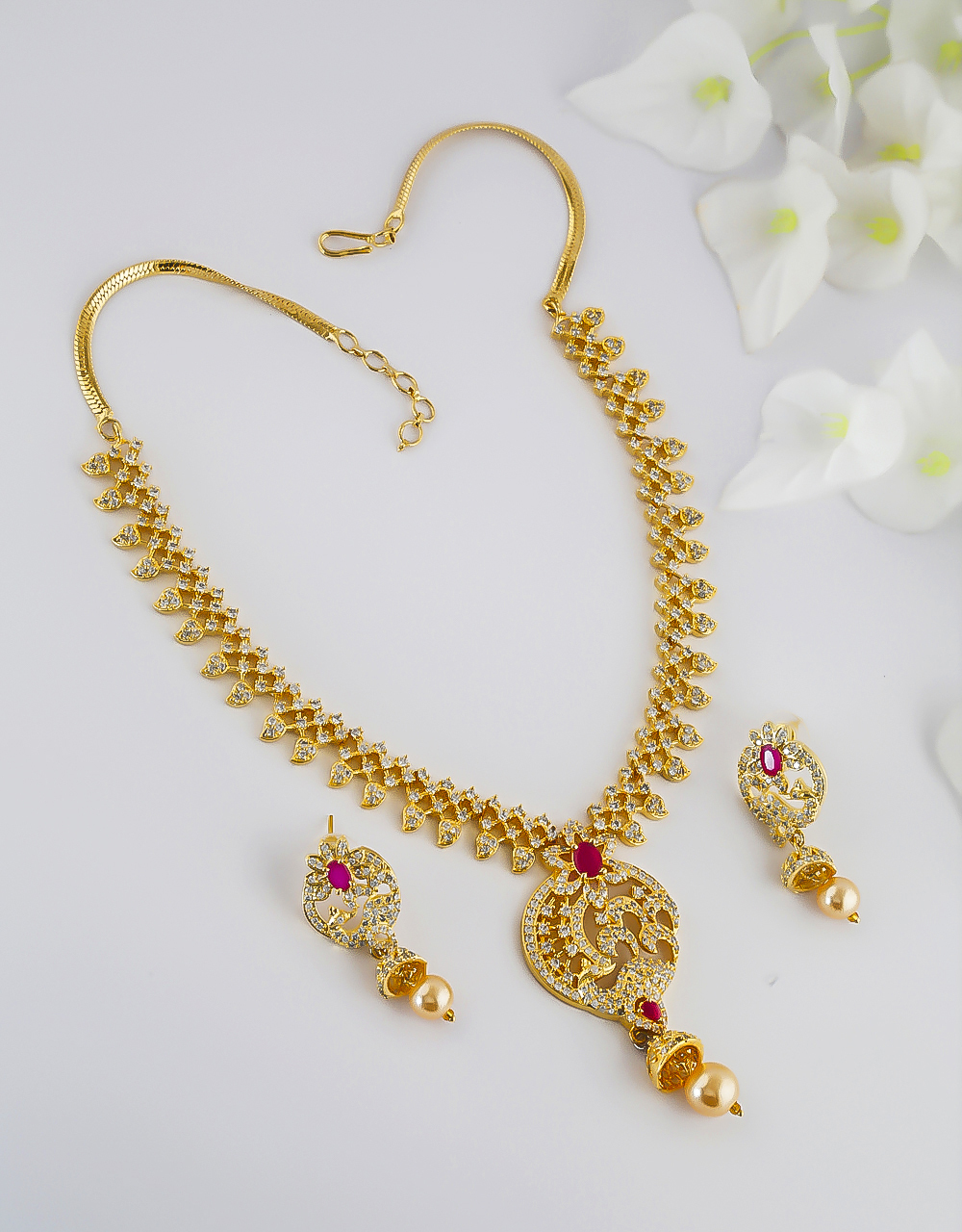 Pink Colour Gold Finish Fancy American Diamond Necklace