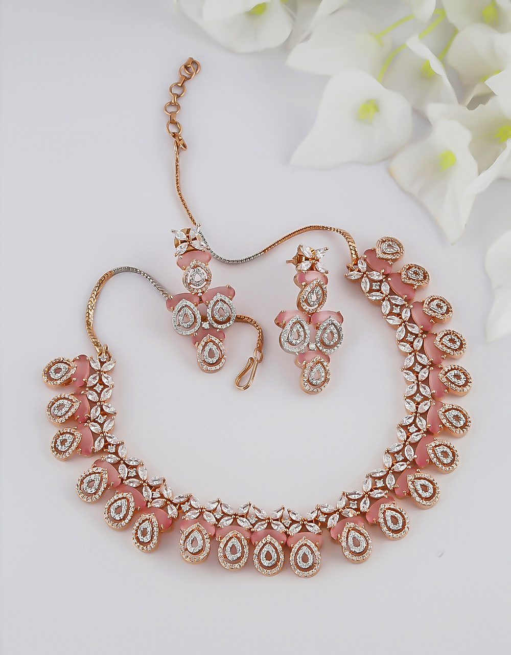 Pink Colour Rose Gold Finish American Diamond Necklace