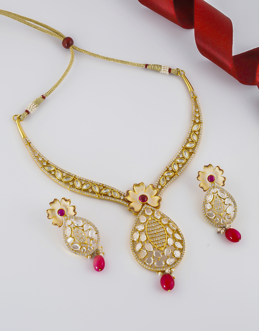 Floral Design Pink Colour Gold Finish Kundan Necklace