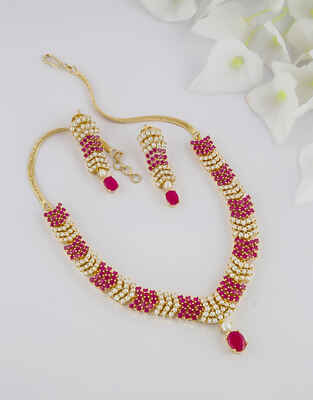 Red Colour Gold Finish South Indian Moti Necklace Jewellery