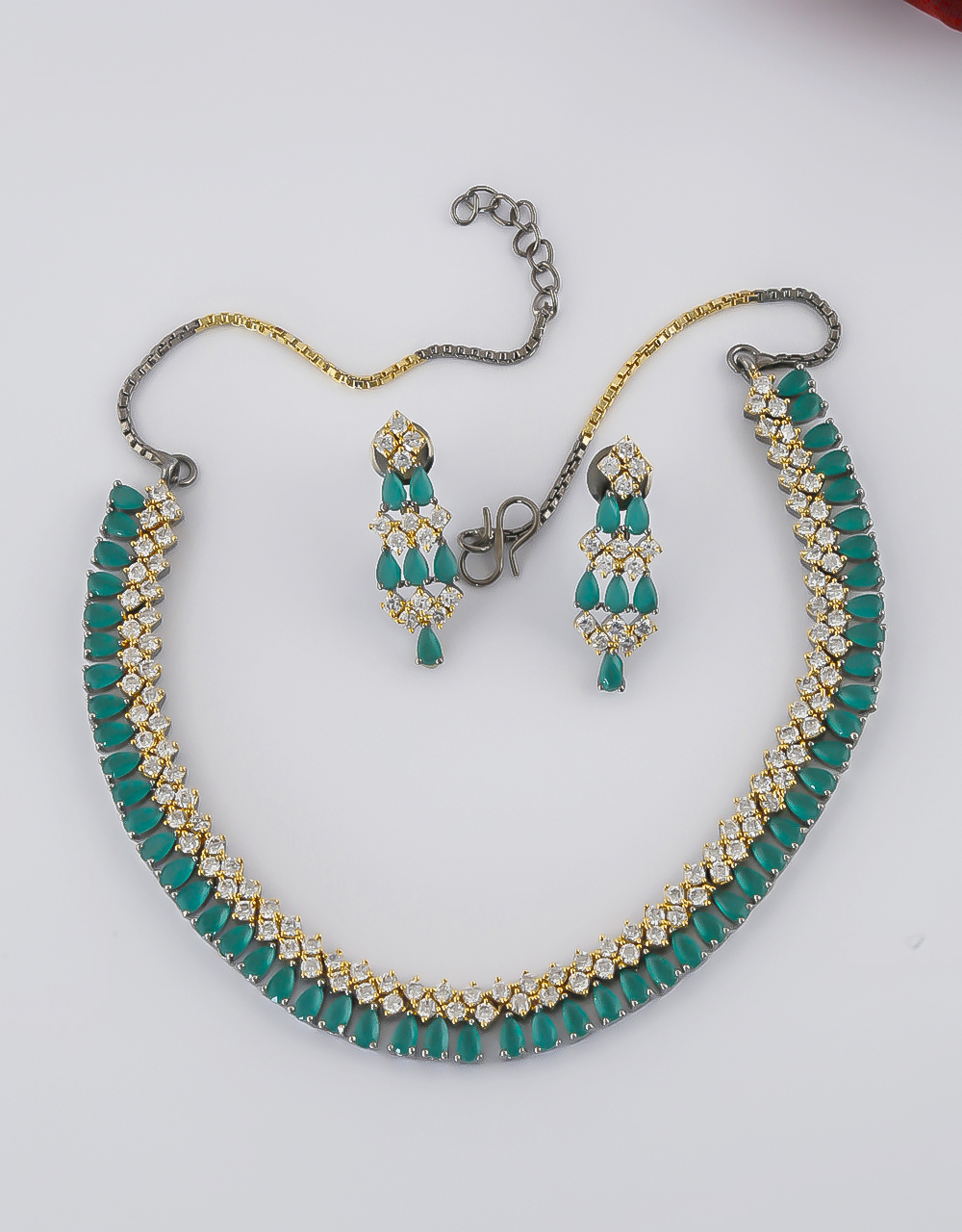 Oxidized Finish Green Colour American Diamond Necklace For Girls
