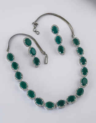 Green Colour Silver Finish American Diamond Necklace