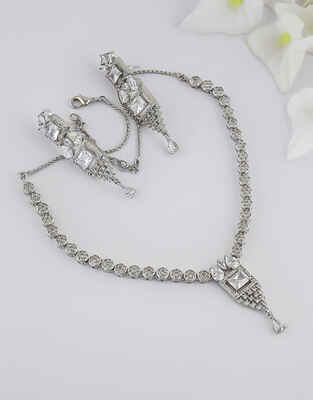 Simple Silver Finish American Diamond Necklace For Women