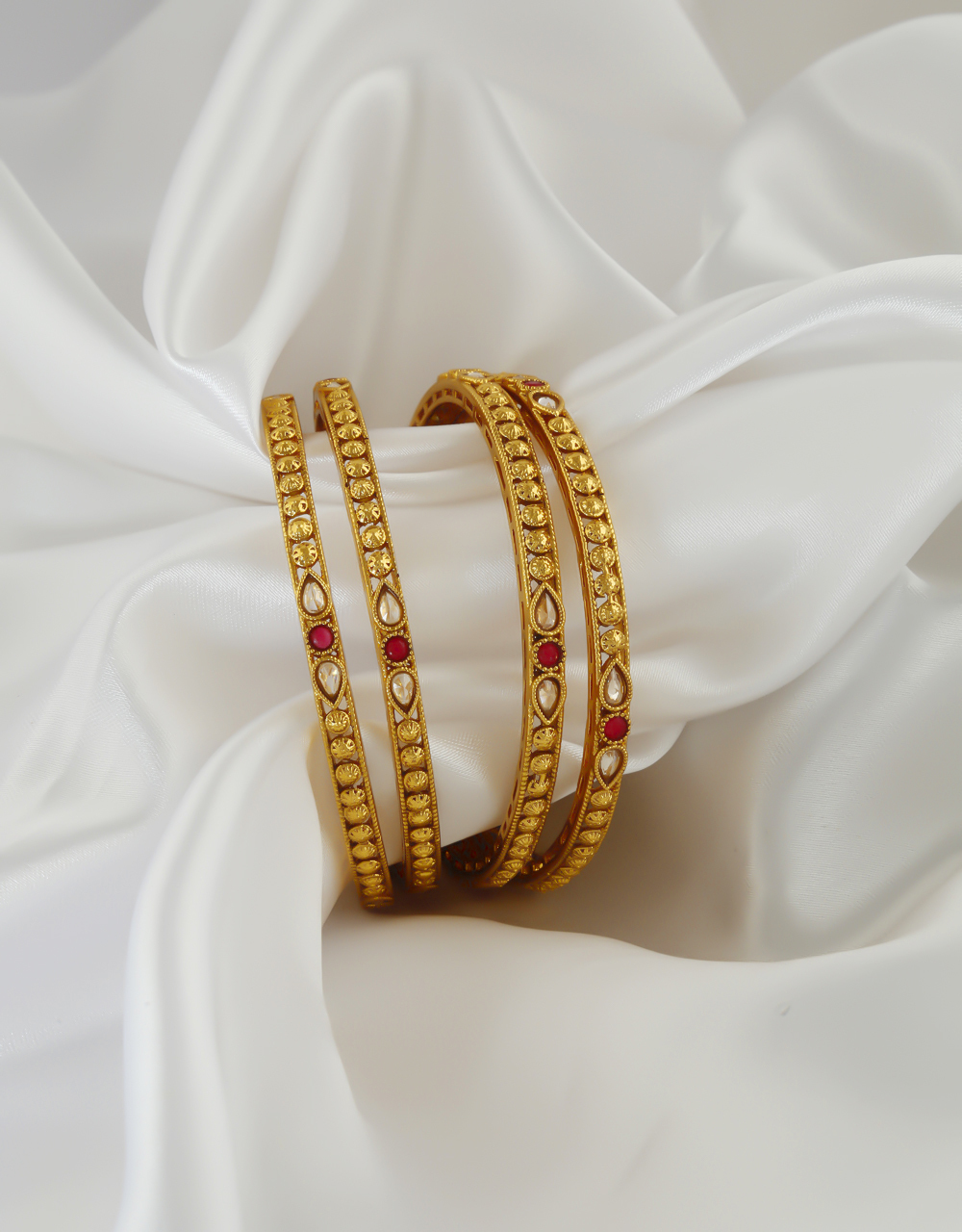 Traditional Red Colour Gold Finish Bangles Fancy Wear