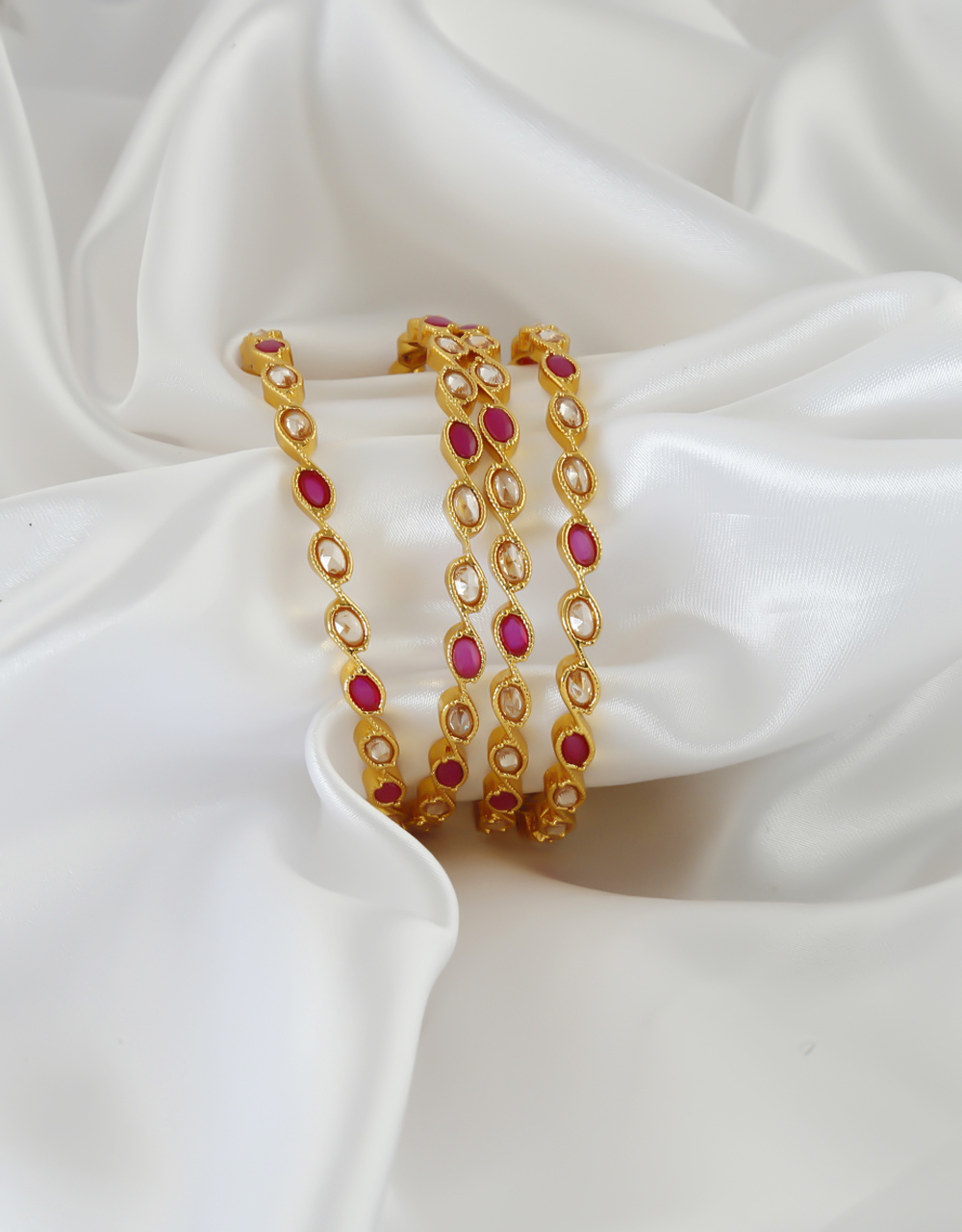 Pink Colour Traditional Gold Finish Bangles For Women