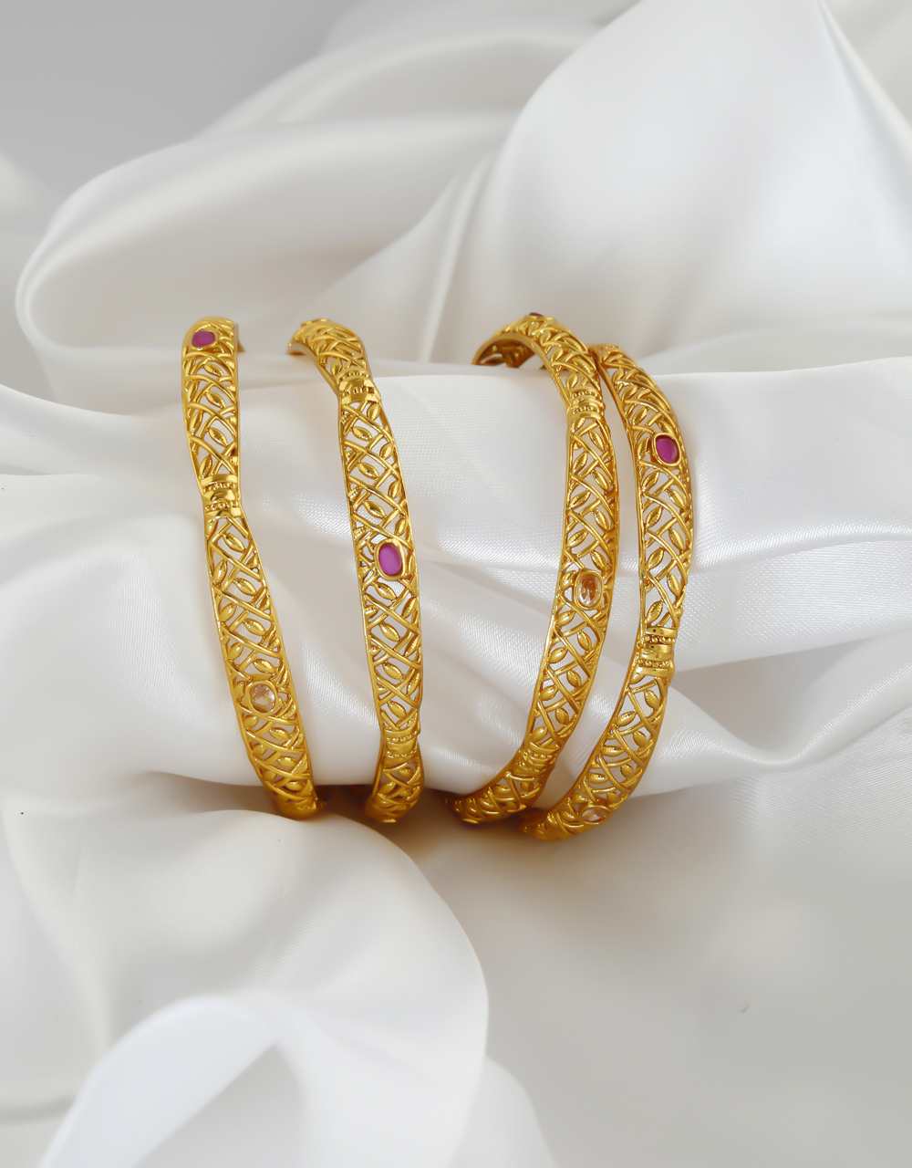 Fashionable Gold Finish Pink Colour Bangles Jewellery