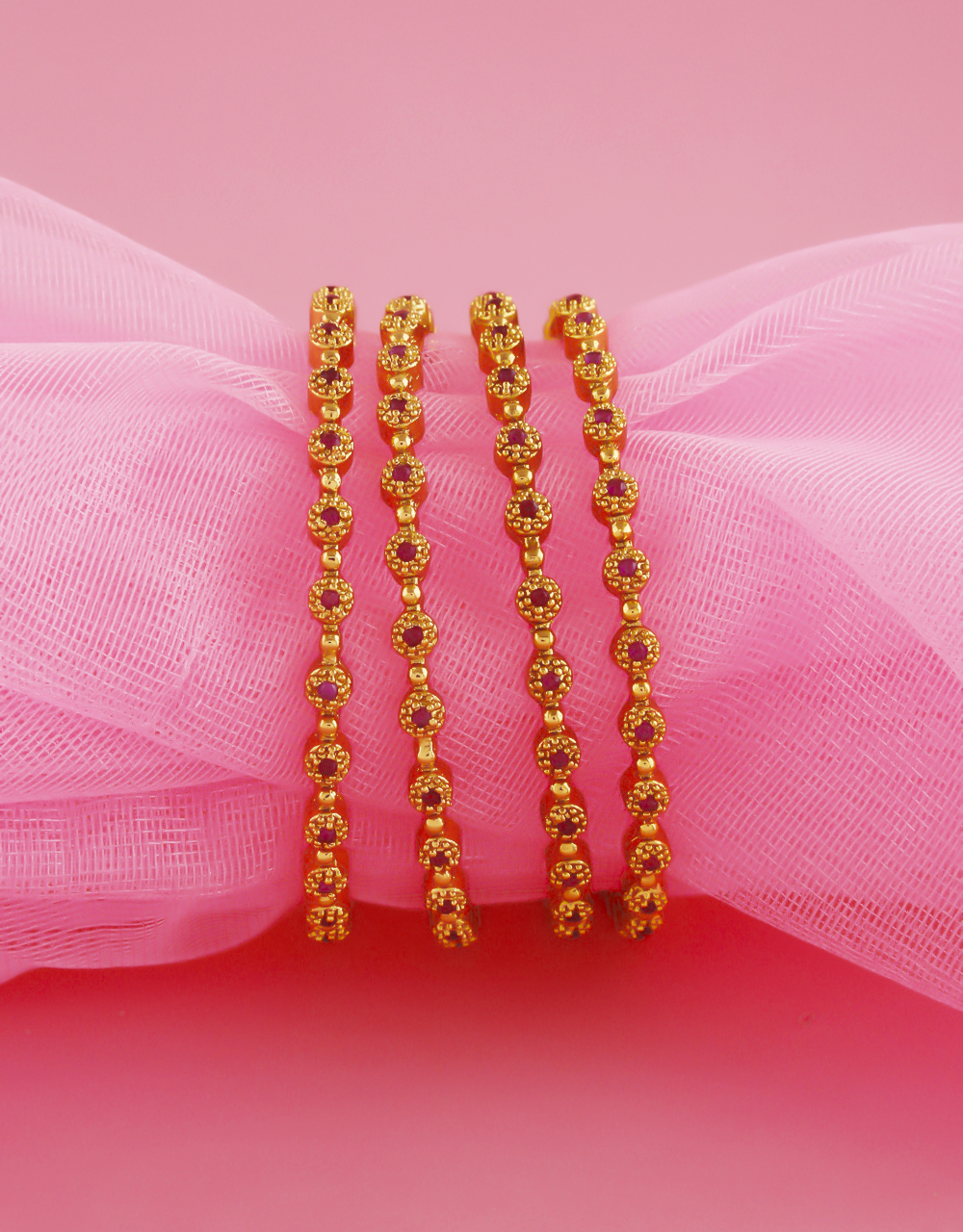 Simple Antique Gold Finish Pink Colour Bangles For Women