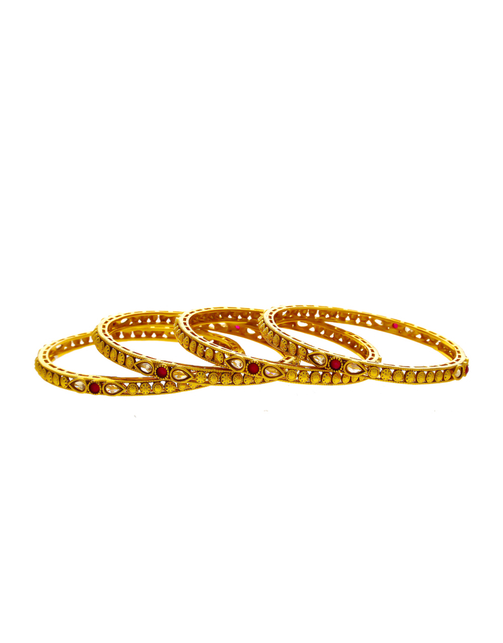 Red Colour Gold Finish Stunning Bangle For Women