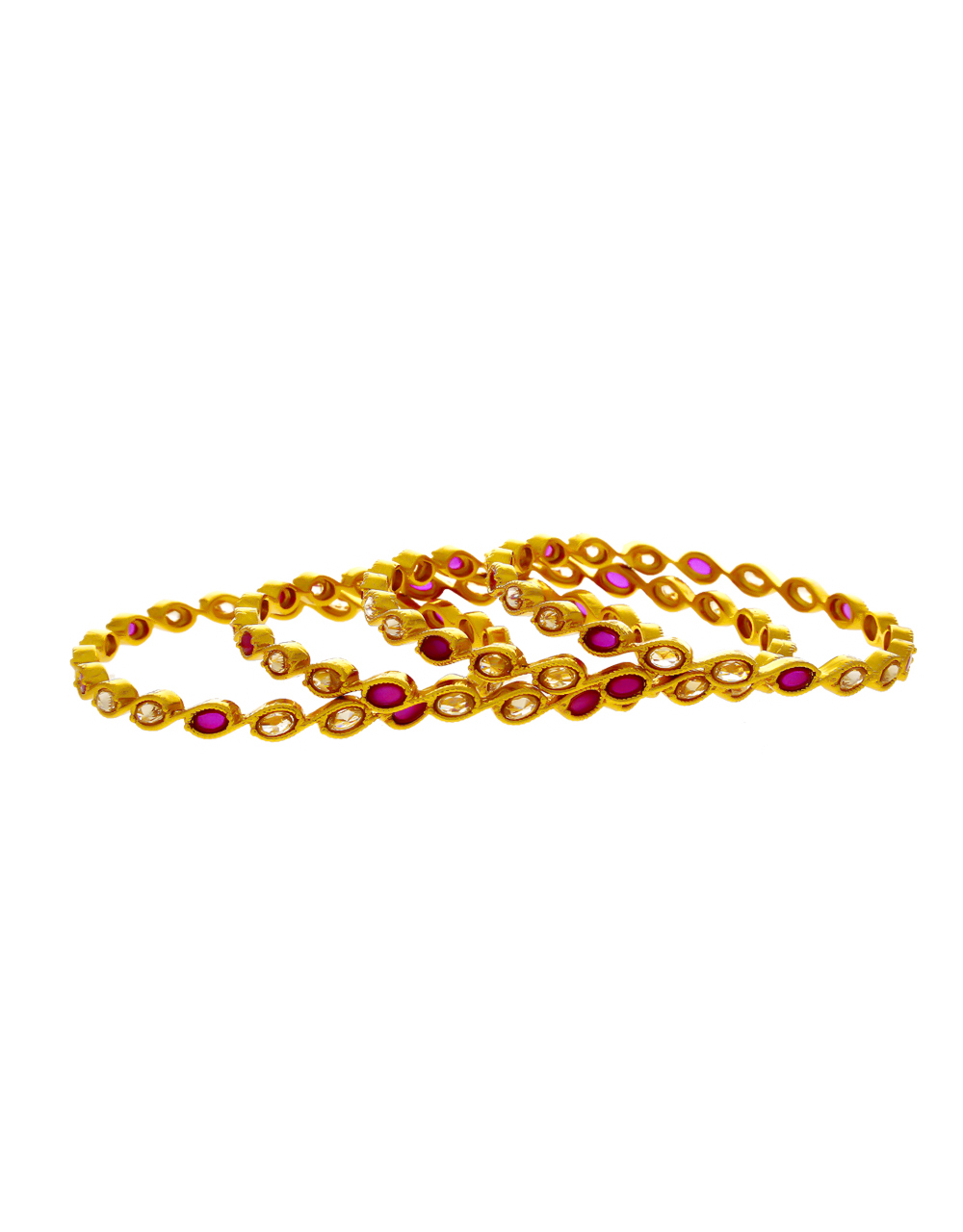Pink Colour Gold Finish Stunning Bangles Set For Women