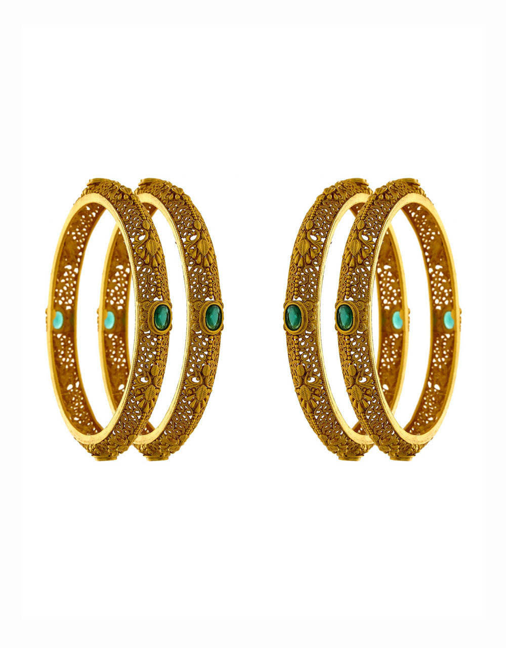 Green Colour Antique Gold Finish Fancy Bangles