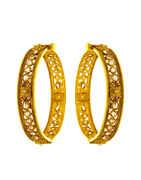 Antique Gold Finish Red Colour Adjustable Bangles