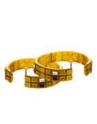 Red Colour Matte Gold Finish Kundan Bangles For Wedding