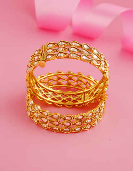 Gold Finish Studded With Stones Adjustable Bangles For Women