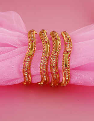 Adorable Pink Colour Gold Finish Stunning Bangles