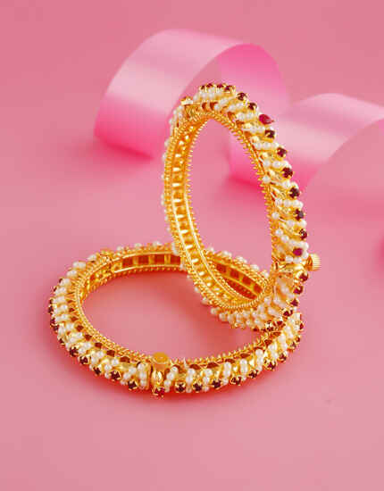 Red Colour Gold Finish Bangles Styled With Pearls Beads Bangles