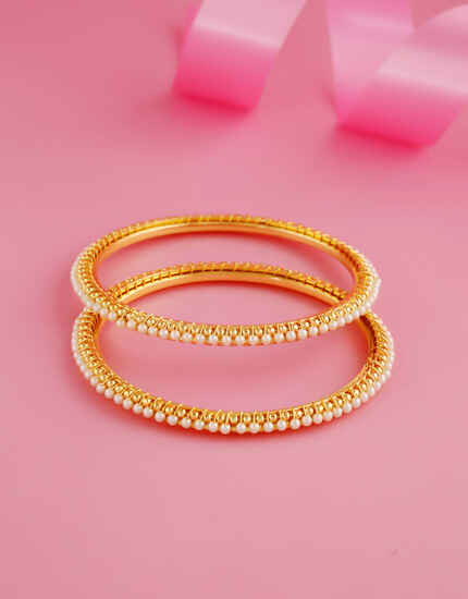 Simple Gold Finish Moti Bangles For Women