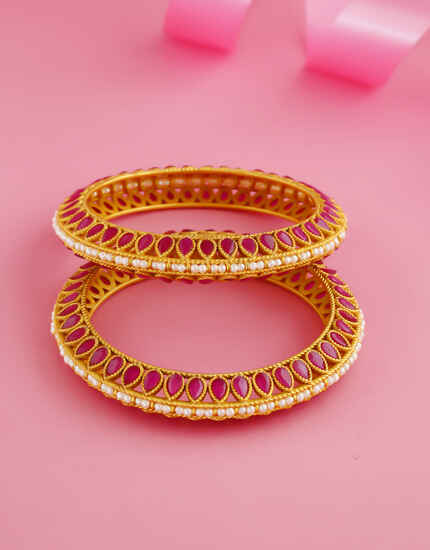 Pink Colour Matte Gold Finish Stunning Bangles For Women