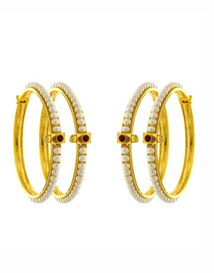 Gold Finish Pearls Styled Bangles Set For Women