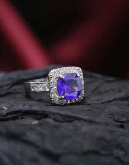 Silver Finish Purple Colour American Diamond Finger Ring