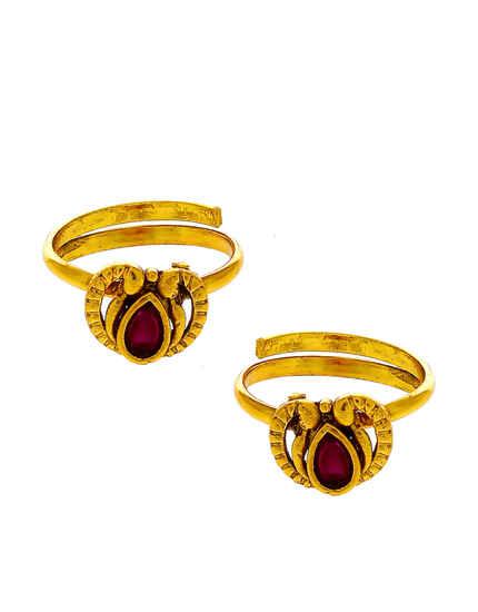 Red Colour Gold Finish Fancy Bichiya Rings