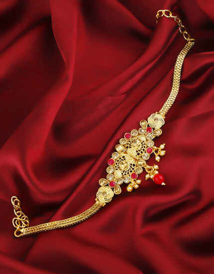 Simple Red Colour Gold Finish Bajuband Jewellery For Women