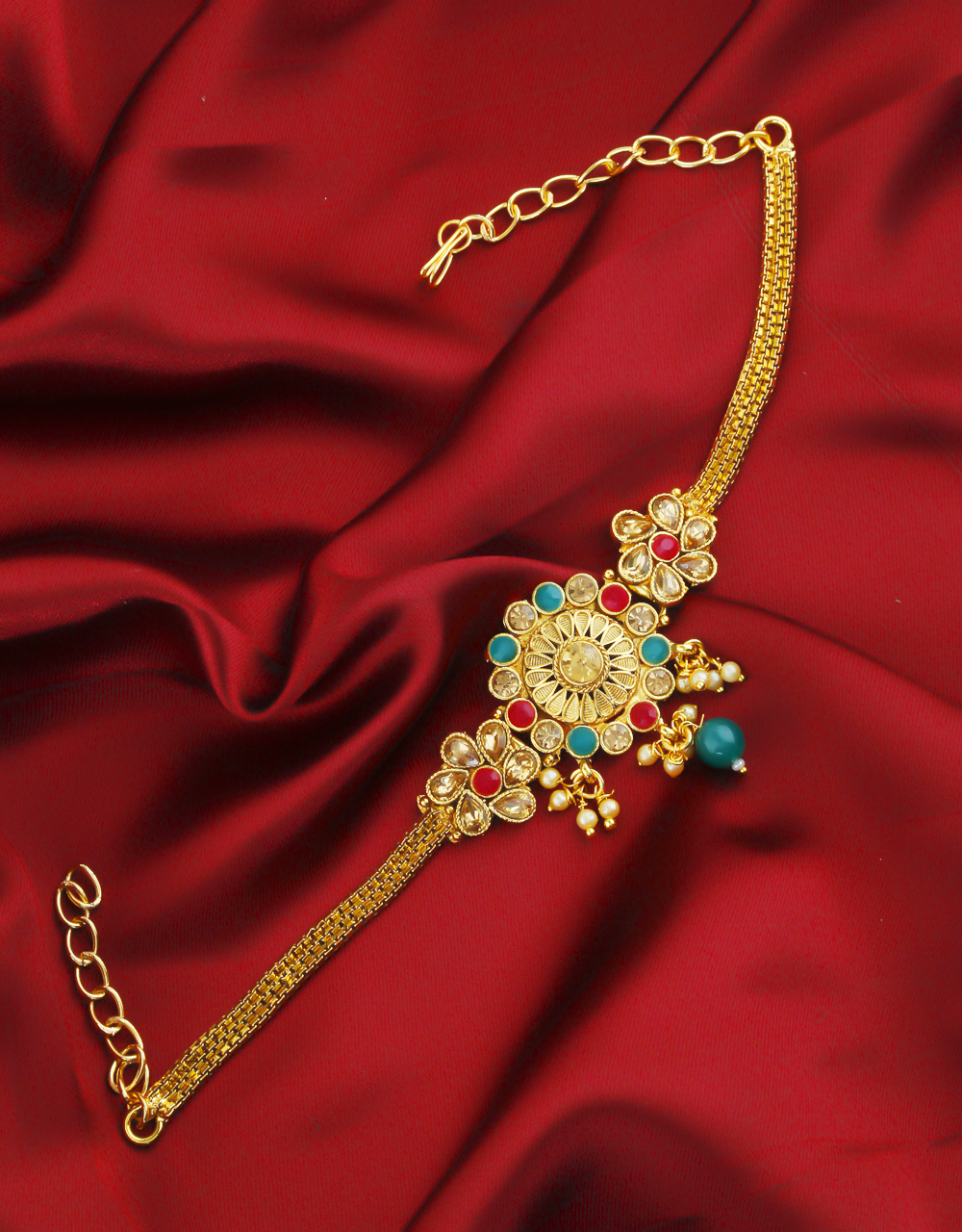 Multi Colour Gold Finish Traditional Bajuband For Girls