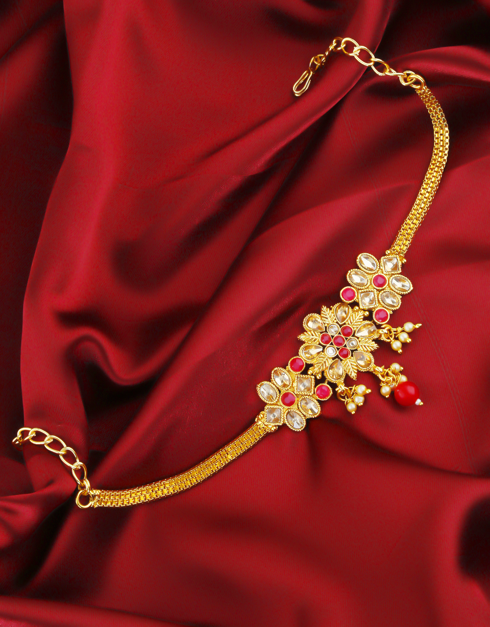 Gold Finish Red Colour Bajuband Fancy Jewellery