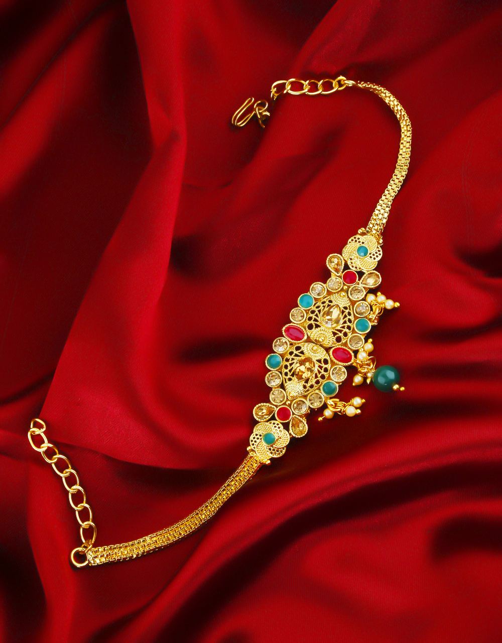 Multi Colour Gold Finish Fancy Bajuband For Bride