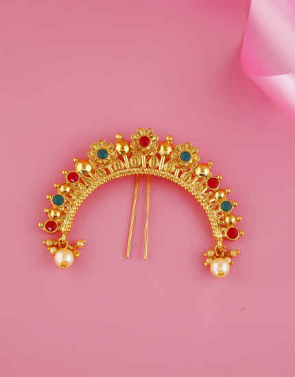 Multi Colour Floral Design Ambada Brooch Pin For Women