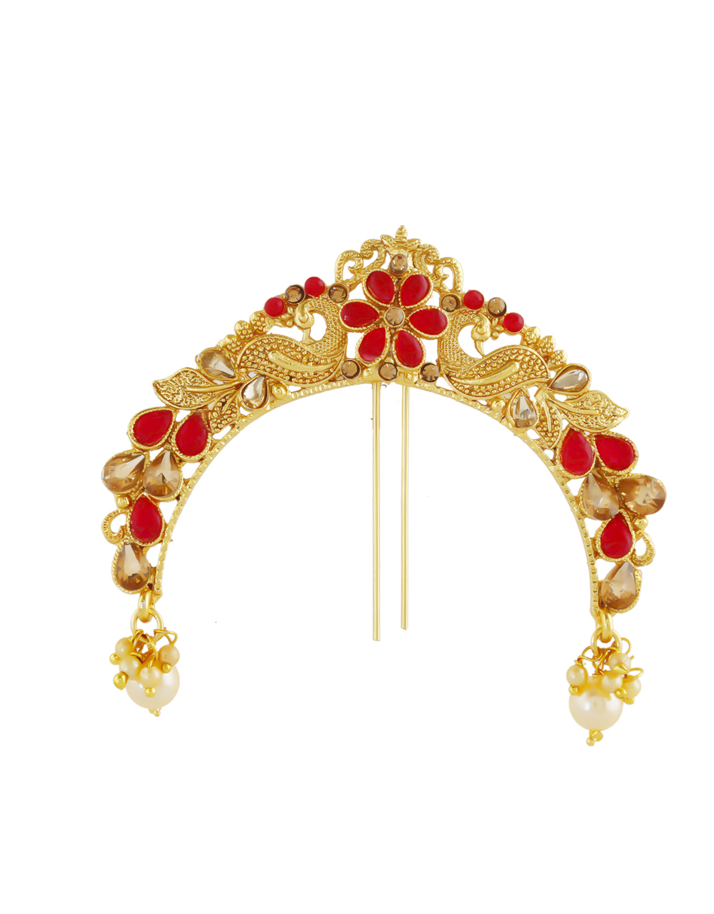 Red Colour Gold Finish Styled With Pearls Beads Brooch