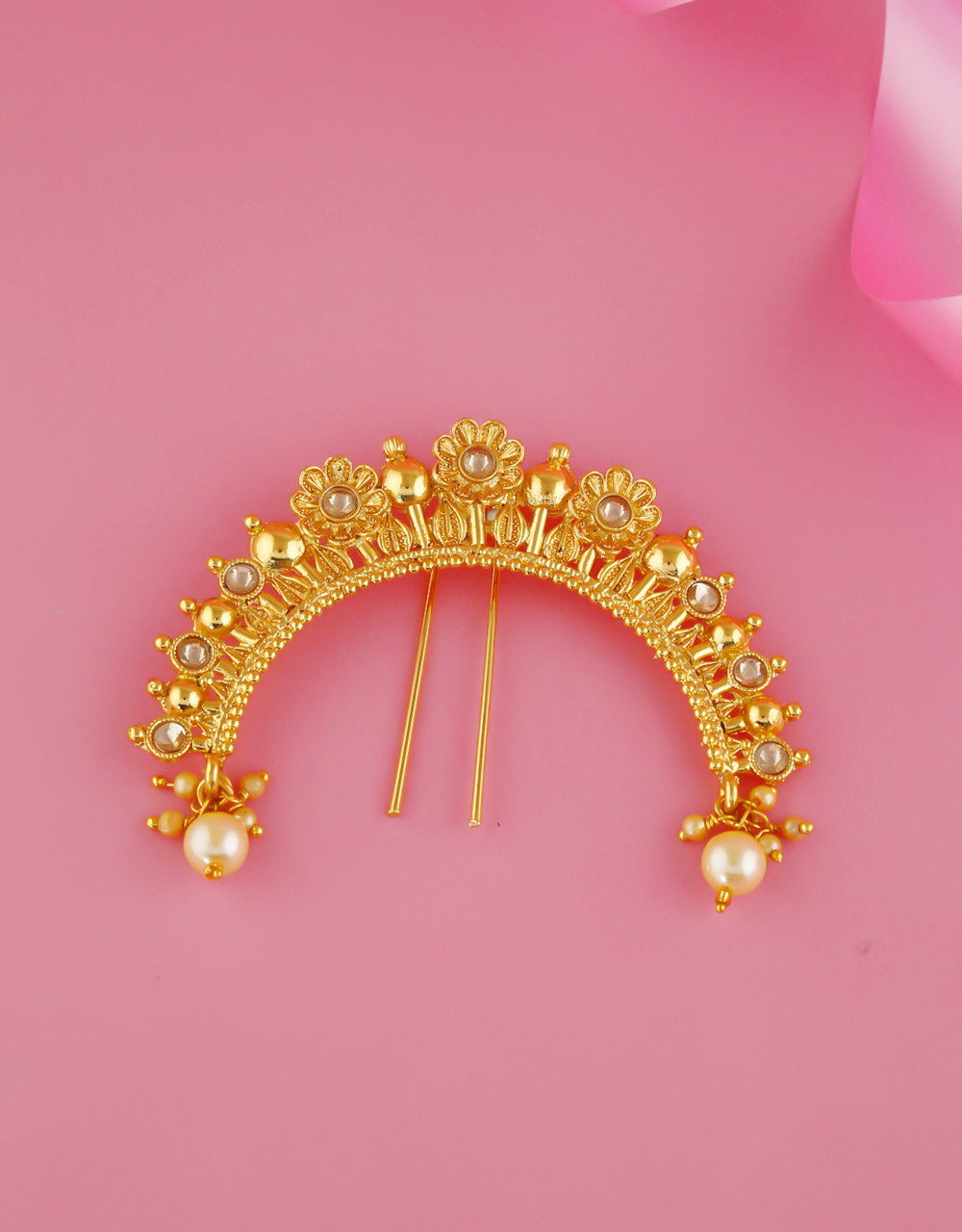 Floral Styled Gold Finish Ambada Pin For Wedding