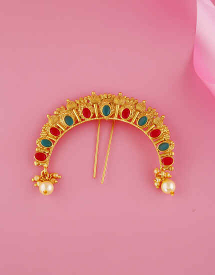 Multi Colour Gold Finish Fancy Ambada Pin For Women