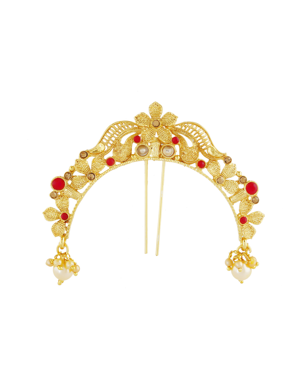 Red Colour Floral Design Ambada Pin Brooch For Girls