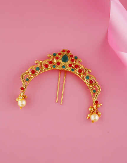Multi Colour Gold Finish Wedding Brooch Pin Jewellery