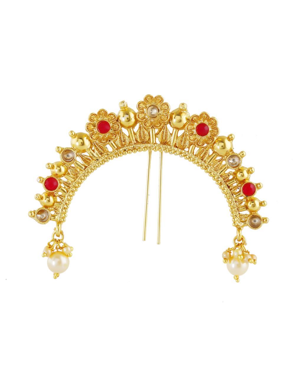 Red Colour Gold Finish Floral Design Brooch Pin