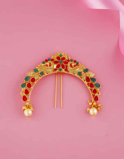 Multi Colour Gold Finish Stylish Trendy Brooch Pin