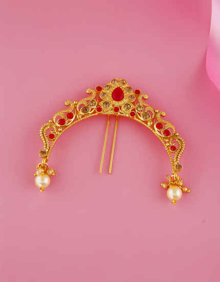 Red Colour Gold Finish Pearls Styled Brooch Pin
