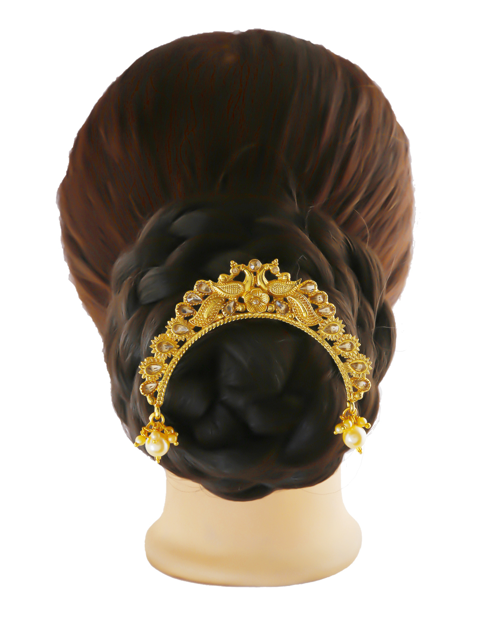Gold Finish Peacock Design Hair Accessories Brooch