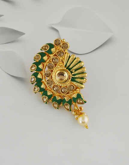 Green Colour Gold Finish Moti Styled Saree Pin