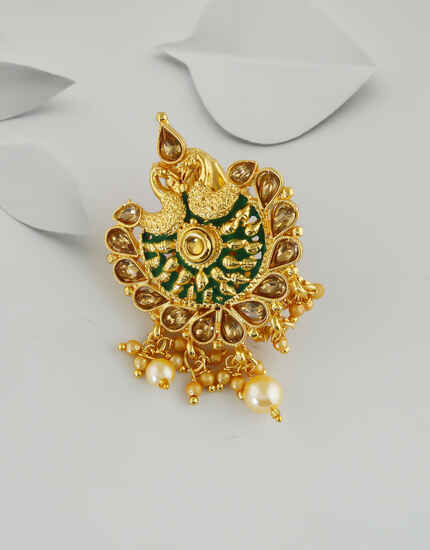 Fancy Gold Finish Green Colour Peacock Styled Saree Pin