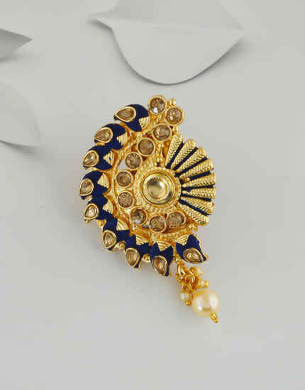 Navy-Blue Colour Gold Finish Stunning Saree Pin