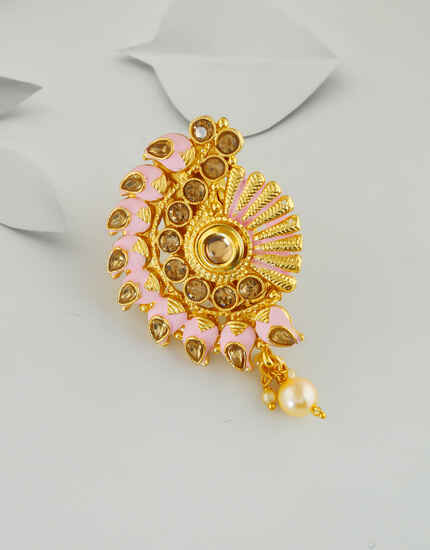 Pink Colour Gold Finish Fancy Saree Brooch Pin