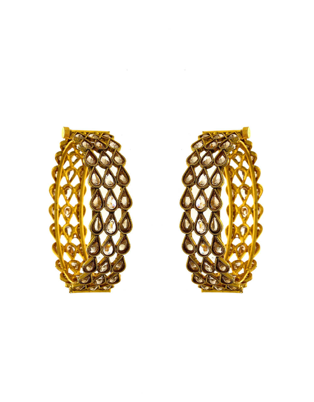 Antique Gold Finish Studded With Stones Bangles Fancy