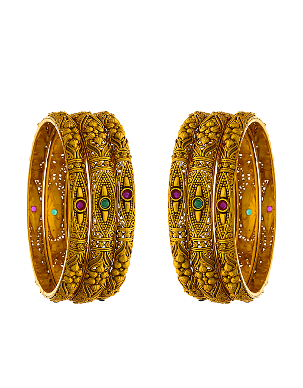 Simple Multi Colour Gold Finish Traditional Bangles
