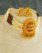 Multi Colour Fancy Chokar Necklace Jewellery For Women
