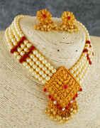 Red Colour Gold Finish Designer Moti Necklace For Girls