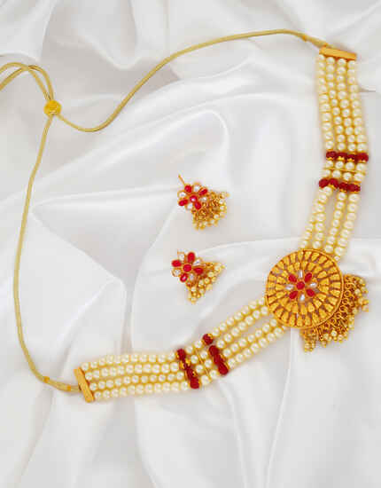 Floral Design Red Colour Stunning Chokar Neclace
