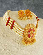 Red Colour Gold Finish Traditional Chokar Necklace